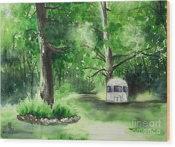 Wood Print featuring the painting Early Summer At The Geddes Farm --ann Arbor Michigan by Yoshiko Mishina