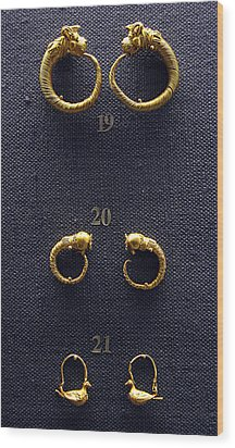 Earrings Wood Print by Andonis Katanos