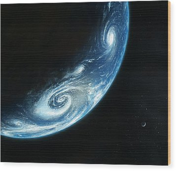Earth And Moon, Artwork Wood Print by Richard Bizley