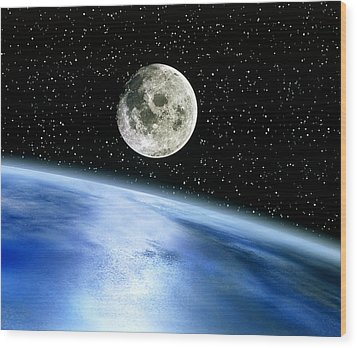 Earth And Moon Wood Print by Julian Baum