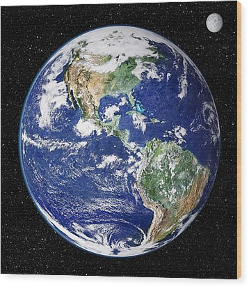 Earth From Space, Satellite Image Wood Print by Nasa Goddard Space Flight Center (nasa-gsfc)