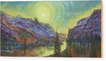 Earth Light Series Wolf Butte Sun Wood Print by Len Sodenkamp