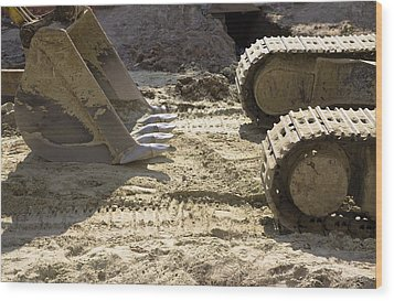 Earth Moving Equipment. An Excavator Wood Print by Maksym Zaleskyy