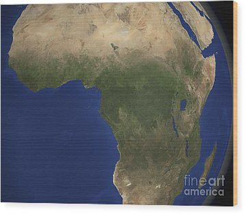 Earth Showing Landcover Over Africa Wood Print by Stocktrek Images