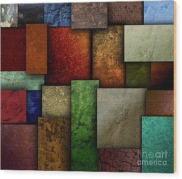 Earth Tone Texture Square Patterns Wood Print by Angela Waye