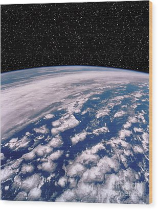 Earth With Starfield Wood Print by NASA / Science Source