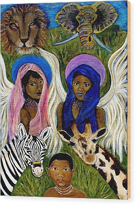 Earthangels Abeni And Adesina From Africa Wood Print by The Art With A Heart By Charlotte Phillips