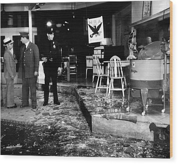 Earthquake Damages A Store In The Heart Wood Print by Everett