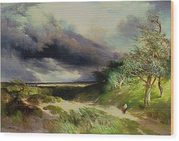 East Hamptonlong Island Sand Dunes Wood Print by Thomas Moran