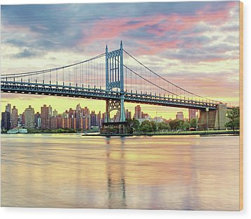 East River Sunset Over Triboro Bridge Wood Print by Tony Shi Photography