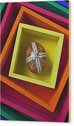 Easter Egg In Box Wood Print by Garry Gay