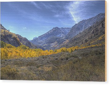 Eastern Sierras In Fall Wood Print by Michele Cornelius