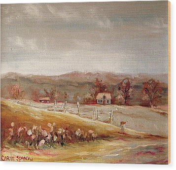 Eastern Townships Quebec Painting Wood Print by Carole Spandau