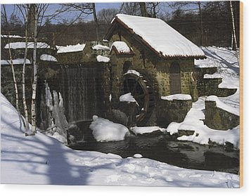 Eastern University Waterwheel Historic Place Wood Print by Sally Weigand