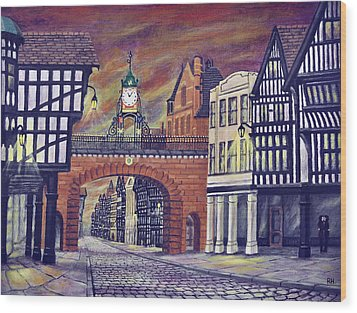 Eastgate Clock - Chester Wood Print by Ronald Haber
