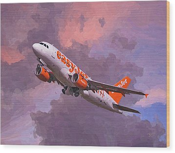easyJet Airbus A319 take off Wood Print by Nop Briex