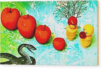 Eating Apples Wood Print by Ricky Sencion