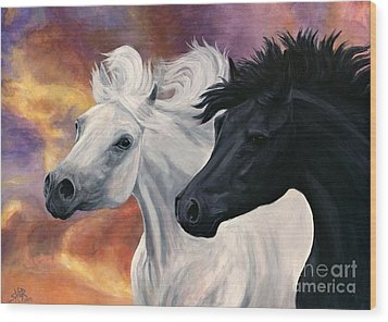 Wood Print featuring the painting Ebony And Ivory by Sheri Gordon