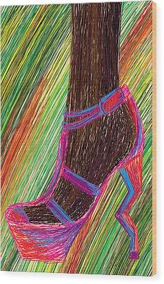 Ebony In High Heels Wood Print by Kenal Louis