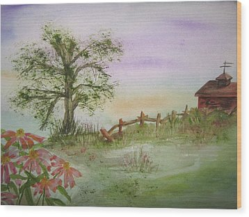 Echinacea And Crooked Fence Wood Print by Ellen Levinson