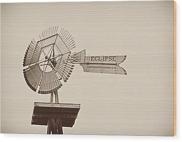 Eclipse Windmill 3578 Wood Print by Michael Peychich
