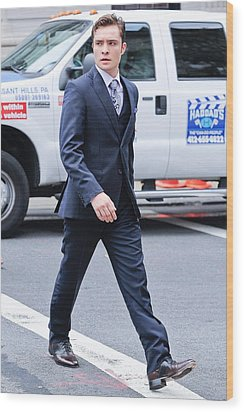 Ed Westwick, Walks To The Gossip Girl Wood Print by Everett