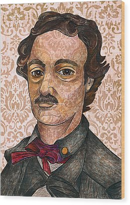 Edgar Allan Poe After The Thompson Daguerreotype Wood Print by Nancy Mitchell
