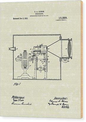 Edison Kinetoscope 1911 II Patent Art  Wood Print by Prior Art Design