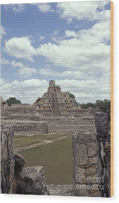 Edzna Mayan Ruins Wood Print by John  Mitchell
