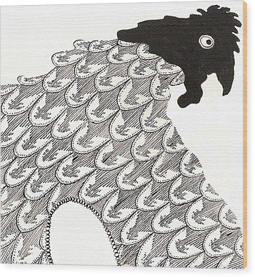 Egg Drawing 010234 Wood Print