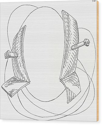 Egg Drawing 030005 Wood Print