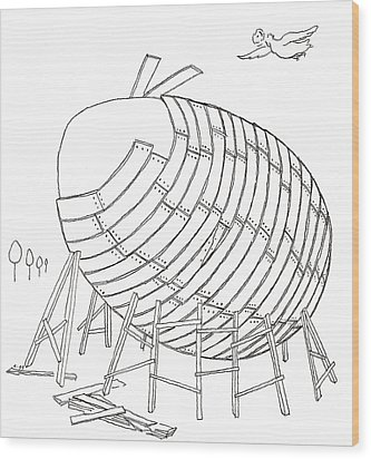 Egg Drawing 049901 Wood Print
