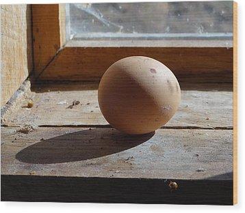 Egg On A Window Ledge Wood Print