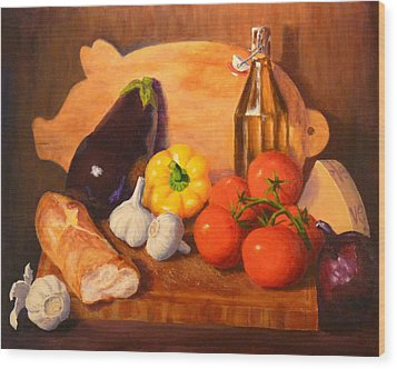 Wood Print featuring the painting Eggplant Parmigiana by Joe Bergholm