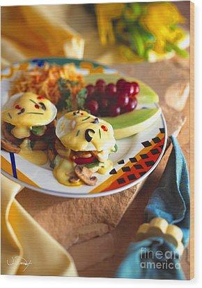 Eggs Benedict Breakfast Wood Print by Vance Fox