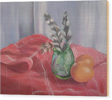 Wood Print featuring the painting Eggs Feathers And Glass by Carol Berning