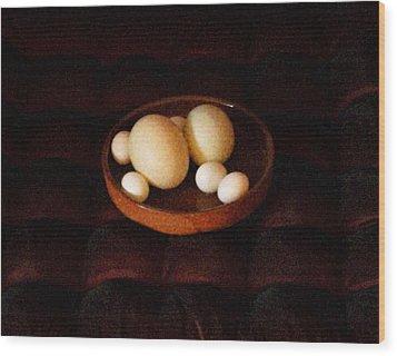 Wood Print featuring the mixed media Eggs by YoMamaBird Rhonda