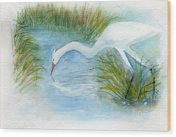 Wood Print featuring the painting Egret Fishing Creek by Doris Blessington