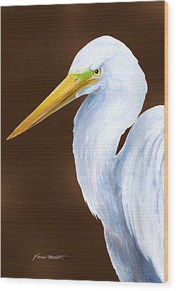 Egret Head Study Wood Print by Kevin Brant