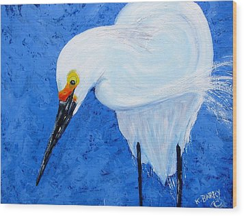 Egret Hunting Wood Print by Kathryn Barry