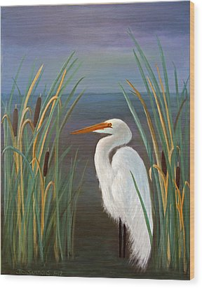 Egret In Cattails Wood Print