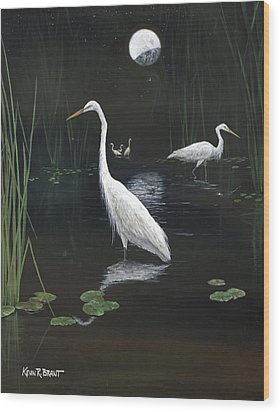 Egrets In The Moonlight Wood Print by Kevin Brant