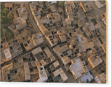 Egyptian Village From The Air Wood Print by Joe & Clair Carnegie / Libyan Soup