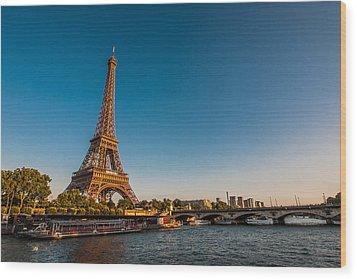 Eiffel Tower And Bridge Wood Print by (C) Thanachai Wachiraworakam