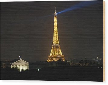 Wood Print featuring the photograph Eiffel Tower At Night by Jennifer Ancker