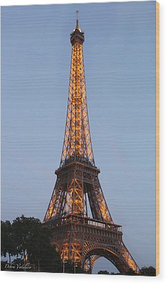 Eiffel Tower Lights Wood Print by Debra     Vatalaro