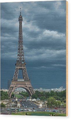 Eiffel Tower On A Stromy Weather Wood Print by Mihaela Muntean
