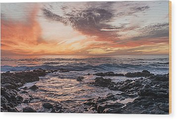 El Golfo, Sunset, Lanzarote, Wood Print by Travelstock44 - Juergen Held