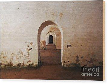 El Morro Fort Barracks Arched Doorways San Juan Puerto Rico Prints Wood Print by Shawn O'Brien
