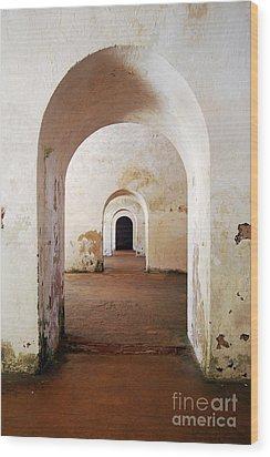 El Morro Fort Barracks Arched Doorways Vertical San Juan Puerto Rico Prints Wood Print by Shawn O'Brien